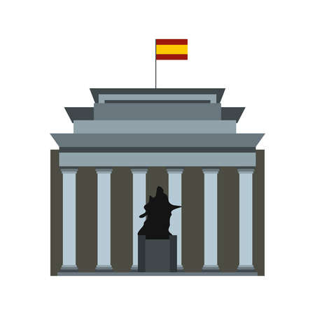 velazquez: Museo del Prado with Velazquez statue, Madrid icon in flat style isolated on white background