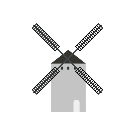 don: Spanish windmill icon in flat style isolated on white background