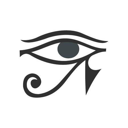 ojo de horus: Ojo de Horus en icono de estilo plano aislado en el fondo blanco