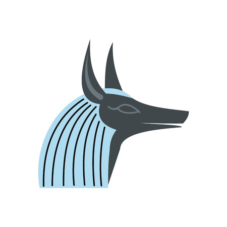 cult tradition: Anubis head icon in flat style isolated on white background