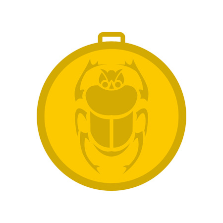 scarab: Gold scarab amulet icon in flat style isolated on white background