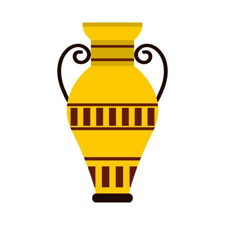 Égyptien icône de vase dans un style plat isolé sur fond blanc