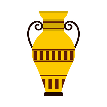 decorative urn: Egyptian vase icon in flat style isolated on white background