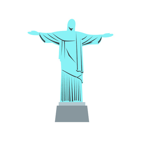 christianism: Statue of Jesus Christ, Rio de Janeiro icon in flat style isolated on white background