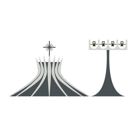metropolitan: Metropolitan Cathedral in Brasil icon in flat style isolated on white background Illustration