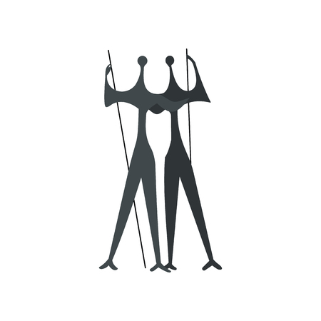plaza: Sculpture of Two Warriors by artist Bruno Giorgi, Brasili icon in flat style isolated on white background Illustration