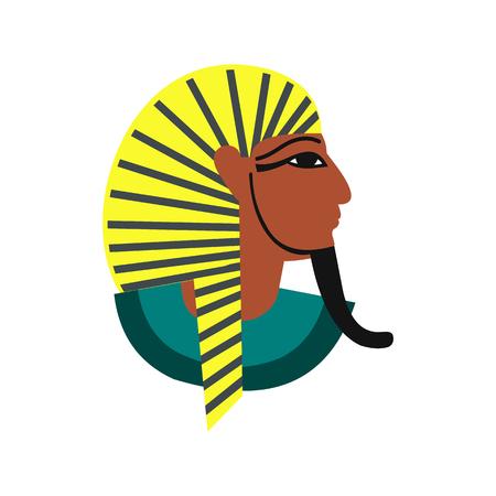 tutankhamen: Egyptian pharaoh icon in flat style isolated on white background