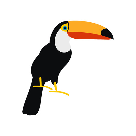 Toucan icon in flat style isolated on white background Vektorové ilustrace