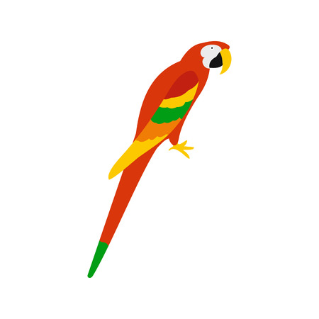 aviary: Orange brazil parrot icon in flat style isolated on white background Illustration
