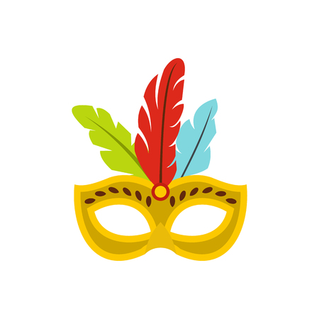 masque: Carnival mask with feathers icon in flat style isolated on white background Illustration