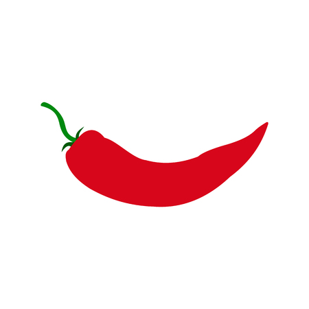 chilly: Red hot chili pepper icon in flat style isolated on white background