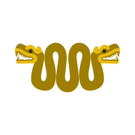 two heads: Aztec snake with two heads icon in flat style isolated on white background Illustration