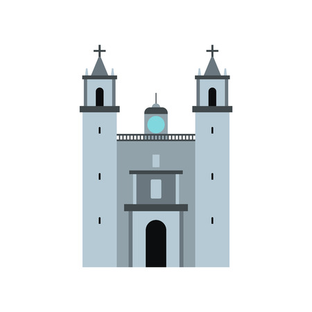 yucatan: Cathedral in Valladolid, Mexico icon in flat style isolated on white background