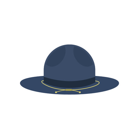 english countryside: Blue cowboy hat icon in flat style isolated on white background