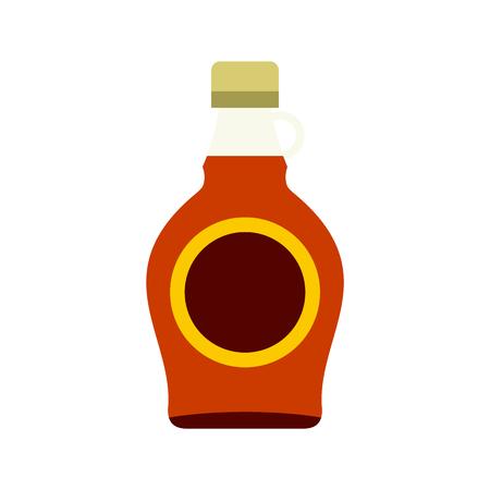 amber: Bottle of maple syrup icon in flat style isolated on white background Illustration