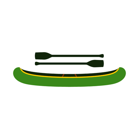 oars: Green kayak with oars icon in flat style isolated on white background