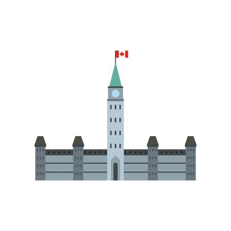 Parliament Buildings, Ottawa icon in flat style isolated on white background