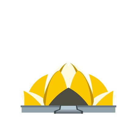 pool hall: Lotus Temple, New Delhi icon in flat style isolated on white background Illustration
