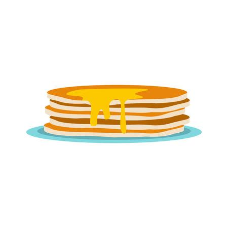 hot cakes: Pila de panqueques en icono de estilo plano aislado en el fondo blanco