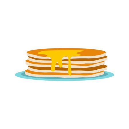 pancake: Stack of pancakes icon in flat style isolated on white background