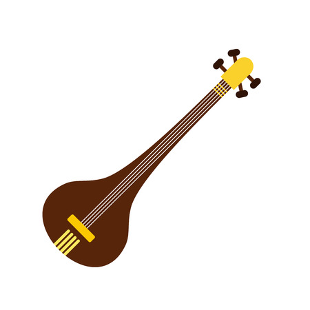 shankar: Traditional Indian sarod icon in flat style isolated on white background