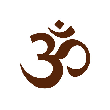 symbols: Hindu om symbol icon in flat style isolated on white background Illustration