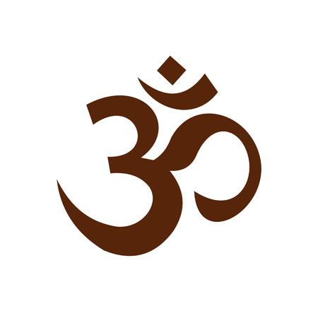 Indù icona simbolo om in stile piatto isolato su sfondo bianco