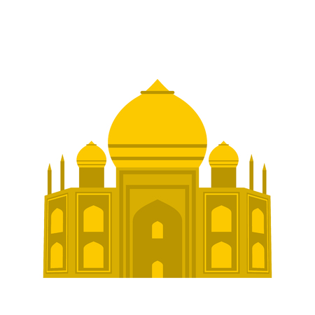 the taj mahal: Taj Mahal, India icon in flat style isolated on white background