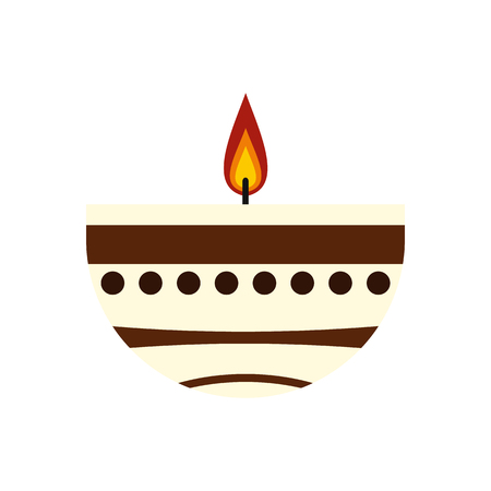 candle holder: Burning candle in a clay candle holder icon in flat style isolated on white background