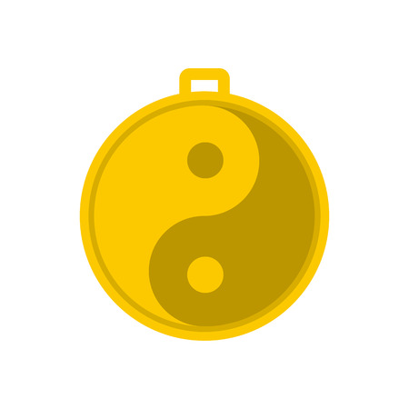 yang style: Amulet of yin yang icon in flat style isolated on white background Illustration