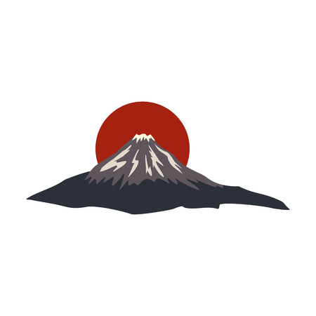 mountain view: The sacred mountain of Fuji, Japan icon in flat style isolated on white background Illustration