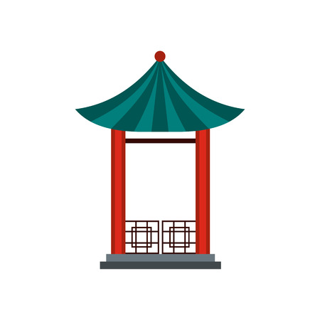 archway: A japanese lotus pavilion icon in flat style isolated on white background Illustration