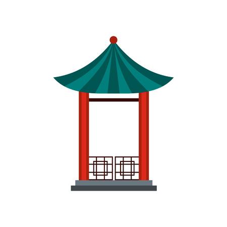 pavilion: A japanese lotus pavilion icon in flat style isolated on white background Illustration