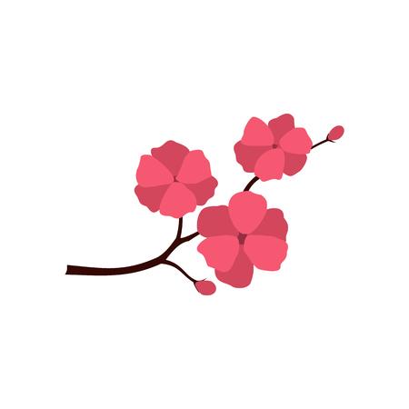 flor de sakura: icono de Sakura en estilo plano aislado en el fondo blanco Vectores