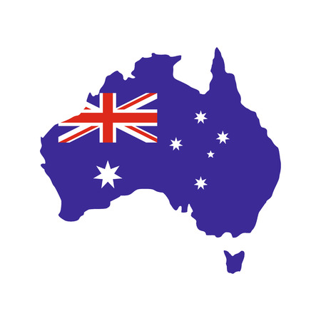 canberra: Australia map with the image of the national flag icon in flat style isolated on white background