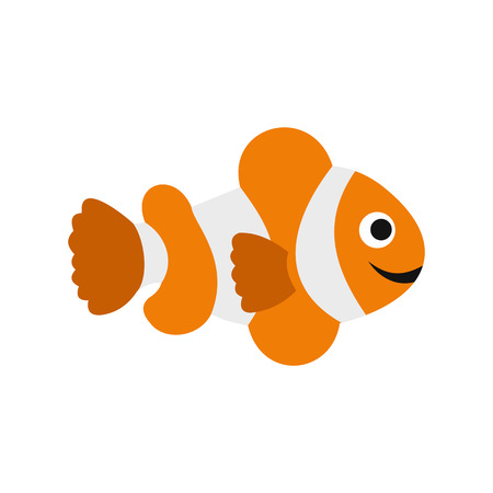 anemonefish: Clownfish flag icon in flat style isolated on white background Illustration