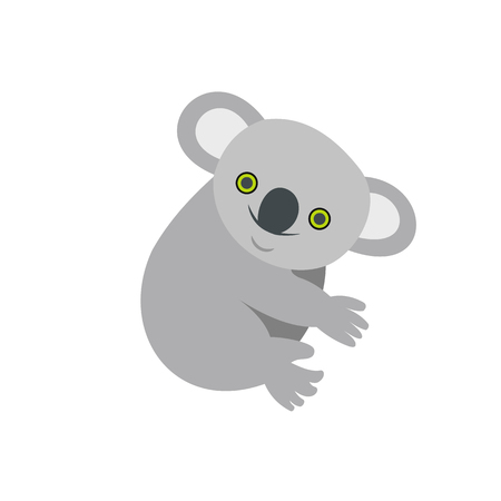 queensland: Koala icon in flat style isolated on white background