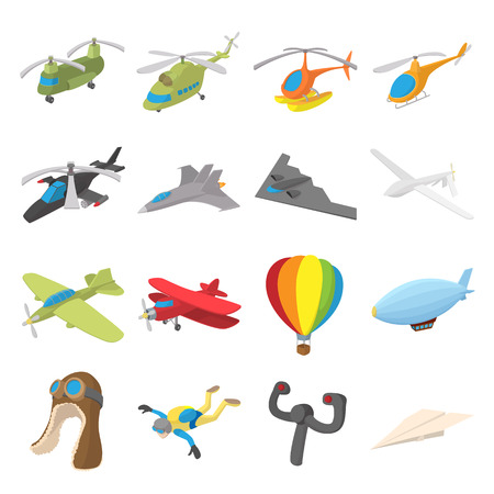 Aviation Icon Set im Cartoon-Stil auf weißem Hintergrund