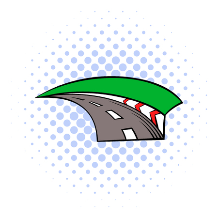 racing track: Racing track icon in comics style isolated on white background Illustration