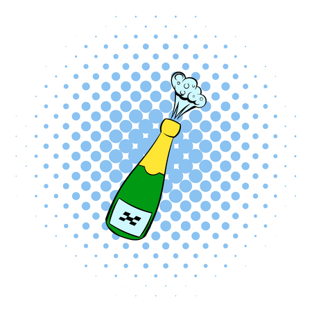uncork: Champagne explosion icon in comics style isolated on white background