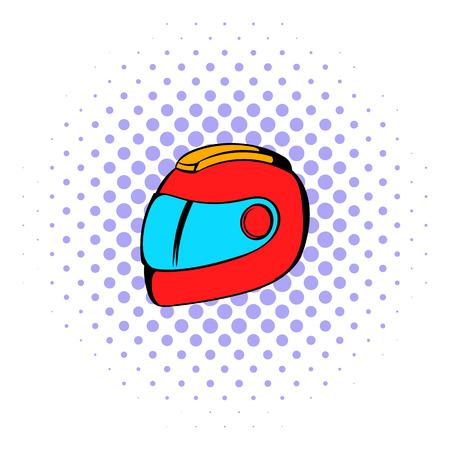 casco de moto: El competir con el icono del casco de estilo cómic aislado en el fondo blanco Vectores