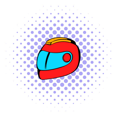 bicycle helmet: Racing helmet icon in comics style isolated on white background Illustration