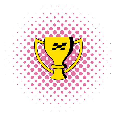 Trophy cup  icon in comics style isolated on white background