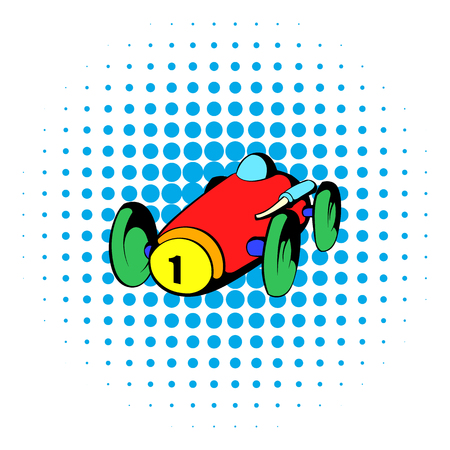 comics car: Racing car icon in comics style isolated on white background