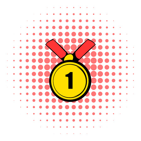 Champion gold medal icon in comics style isolated on white background