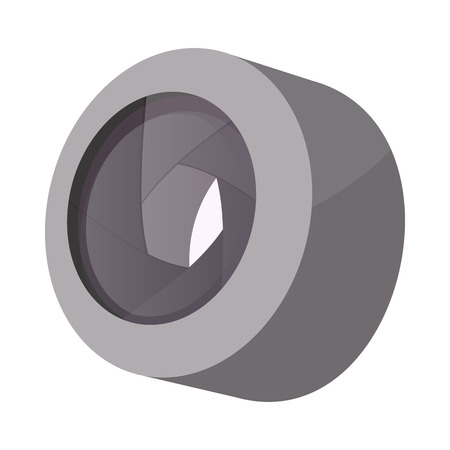 lens: Camera lens icon in cartoon style isolated on white background