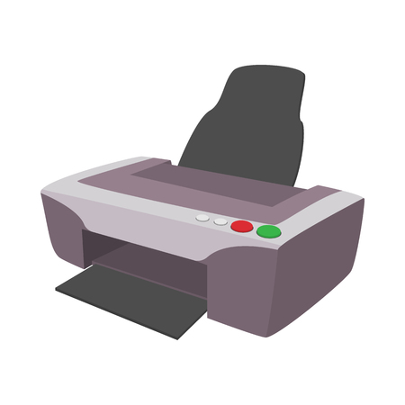 mfp: Printer icon in cartoon style isolated on white background. Photo printer icon Illustration