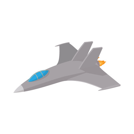 Military aircraft icon in cartoon style on a white background