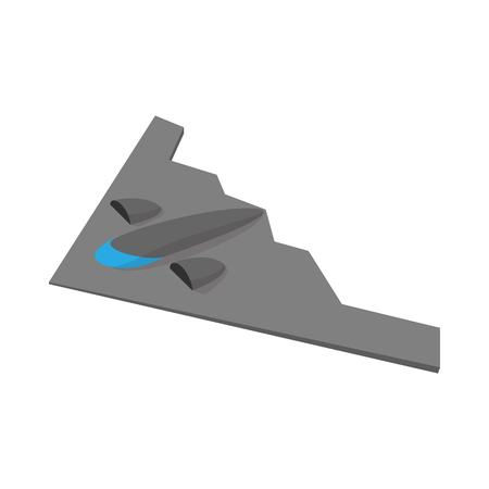 fuselage: Stealth bomber icon in cartoon style on a white background