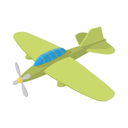 aeronautics: Military aircraft icon in cartoon style on a white background